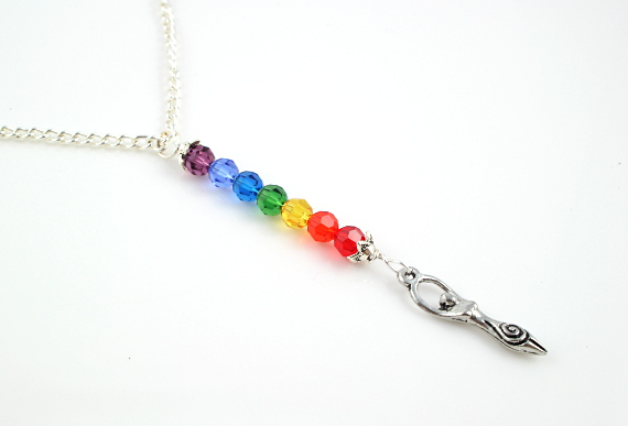 7 chakras necklace - Pewter goddess, md