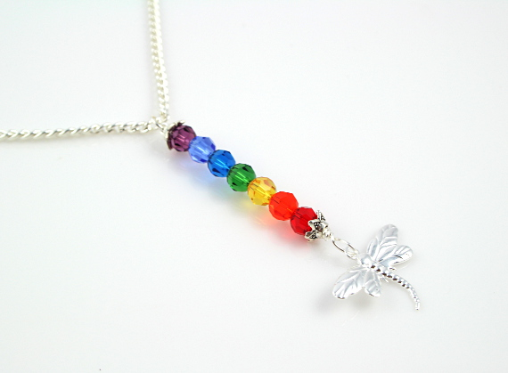 7 chakras necklace - Silver Dragonfly, md