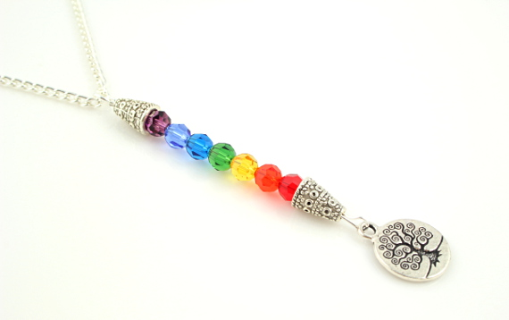 7 chakras necklace - Silver coin tree of life, md
