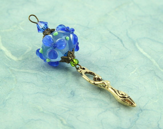 Blessingway bead - Blue river flower golden goddess, blue, md