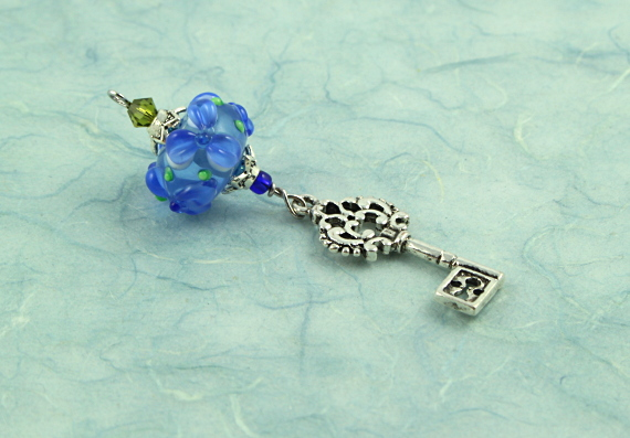 Blessingway bead - Blue river flower key, blue, md