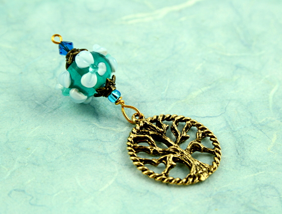 Blessingway bead - Forest spring tree of life, blue dark, md