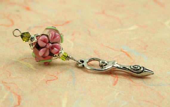 Blessingway bead - Golden pink blooms goddess, take 2, md