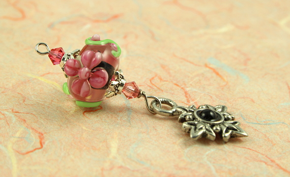 Blessingway bead - Pink blooms eye, take 2, md