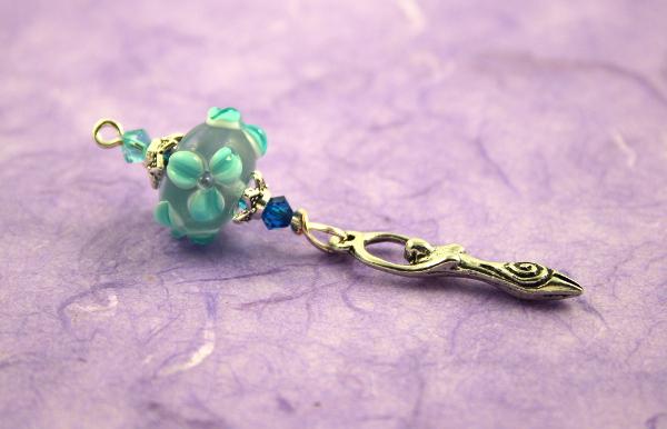 Blessingway bead - Turquoise sea flower goddess, md