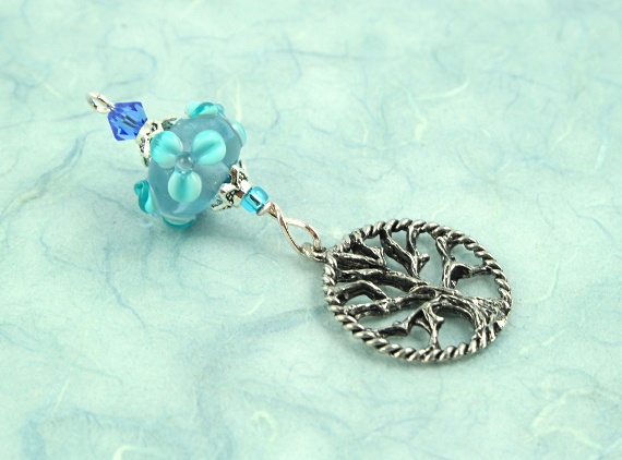 Blessingway bead - Turquoise sea flower tree of life, blue, md