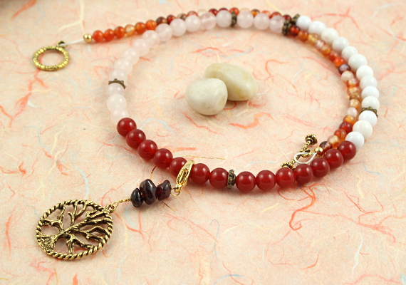 Pregnancy Tracking Necklace - Fiery Flowers - red carnelian, rose and snow quartz, agate, circle bg, md