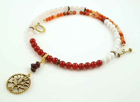 Pregnancy Tracking Necklace - Fiery Flowers - red carnelian, rose and snow quartz, agate, circle, md