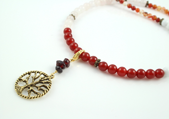 Pregnancy Tracking Necklace - Fiery Flowers - red carnelian, rose and snow quartz, agate, closeup, md