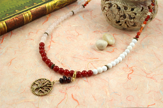 Pregnancy Tracking Necklace - Fiery Flowers - red carnelian, rose and snow quartz, agate, draped, md