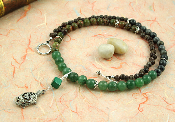 Pregnancy Tracking Necklace - Green Forest - aventurine, labradorite, unakite, malachite, circle, md
