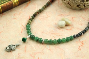 Pregnancy Tracking Necklace - Green Forest - aventurine, labradorite, unakite, malachite, draped, md
