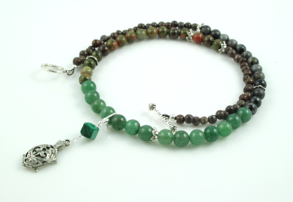 Pregnancy Tracking Necklace - Green Forest - aventurine, labradorite, unakite, malachite, white, md