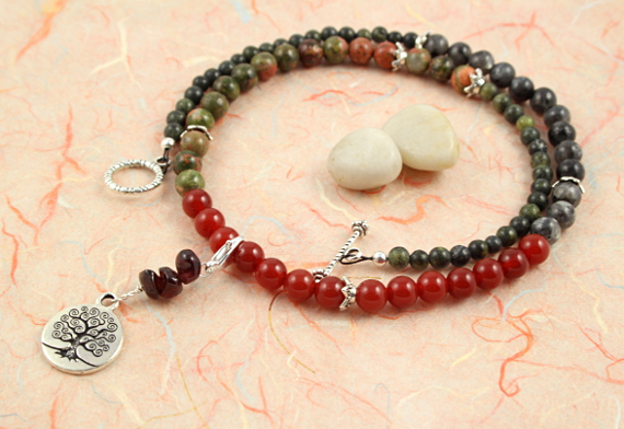 Pregnancy Tracking Necklace - Lush Meadow - red carnelian, labradorite, unakite, garnet, circle, md