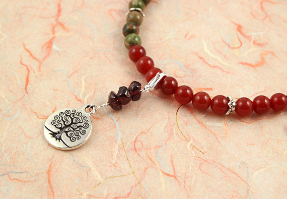 Pregnancy Tracking Necklace - Lush Meadow - red carnelian, labradorite, unakite, garnet, closeup, md