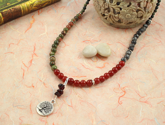 Pregnancy Tracking Necklace - Lush Meadow - red carnelian, labradorite, unakite, garnet, draped, md