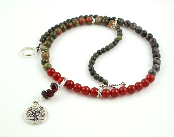 Pregnancy Tracking Necklace - Lush Meadow - red carnelian, labradorite, unakite, garnet, yin yang, md