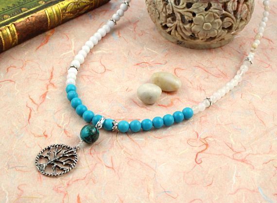 Pregnancy Tracking Necklace - Sea Foam - turquoise, rainbow moonstone, snow quartz, draped, md