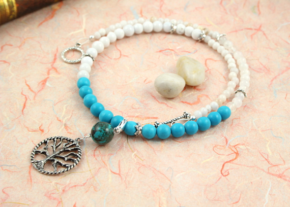 Pregnancy Tracking Necklace - Sea Foam - turquoise, rainbow moonstone, snow quartz, peach, md