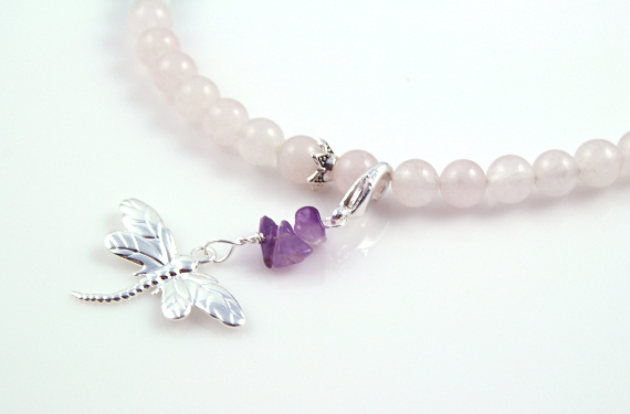 Pregnancy Tracking Necklace - Snow Lace - moonstone, rose quartz, snow quartz, amethyst, pendant, md