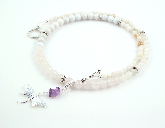 Pregnancy Tracking Necklace - Snow Lace - moonstone, rose quartz, snow quartz, amethyst, white round, md