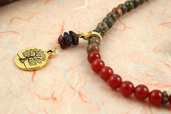 Pregnancy Tracking Necklace - Sunlit Meadow - red carnelian, labradorite, unakite, garnet, closeup, md
