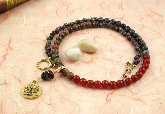 Pregnancy Tracking Necklace - Sunlit Meadow - red carnelian, labradorite, unakite, garnet, peach, md