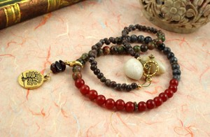 Pregnancy Tracking Necklace - Sunlit Meadow - red carnelian, labradorite, unakite, garnet, piled, md