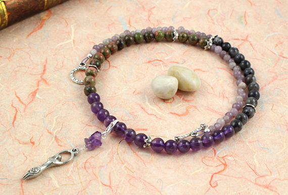 Pregnancy Tracking Necklace - Wild Flowers - amethyst, labradorite, unakite, circle, md