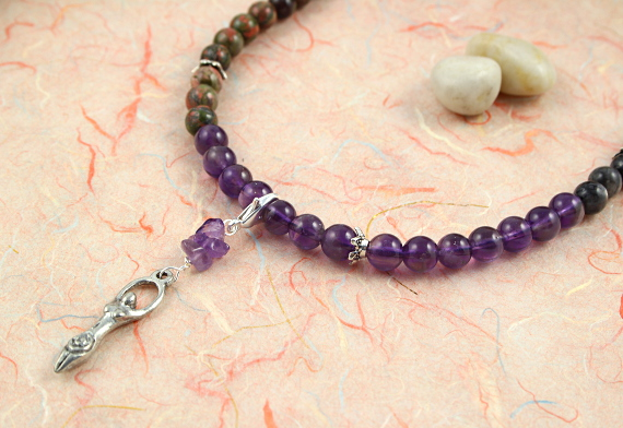 Pregnancy Tracking Necklace - Wild Flowers - amethyst, labradorite, unakite, closeup, md