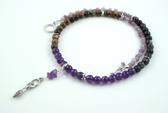 Pregnancy Tracking Necklace - Wild Flowers - amethyst, labradorite, unakite, white, md