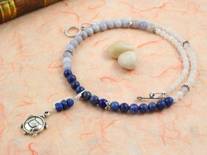 Pregnancy Tracking Necklace - Milky Way - lapis lazuli, chalcedony, moonstone, snow quartz, circle, peach, md
