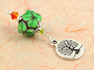 Blessingway bead - Emerald silver tree of life