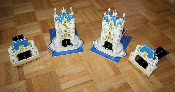 Londow Tower Bridge 3D puzzle, ends and towers, correct assembly, med