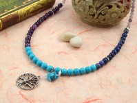 Pregnancy Tracking Necklace - Dreamy Ocean - lapis lazuli, turquoise, amethyst, lilac stone, draped, md