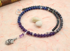 Pregnancy Tracking Necklace - Starry Sky - lapis lazuli, amethyst, labradorite, serpentine, circle peach, md