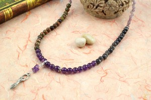 Pregnancy Tracking Necklace - Wild Flowers - amethyst, labradorite, unakite, draped, md