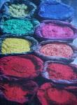 Paint pigment in the sun in Kathmandu, Nepal, md