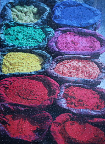 Paint pigment in the sun in Kathmandu, Nepal, med