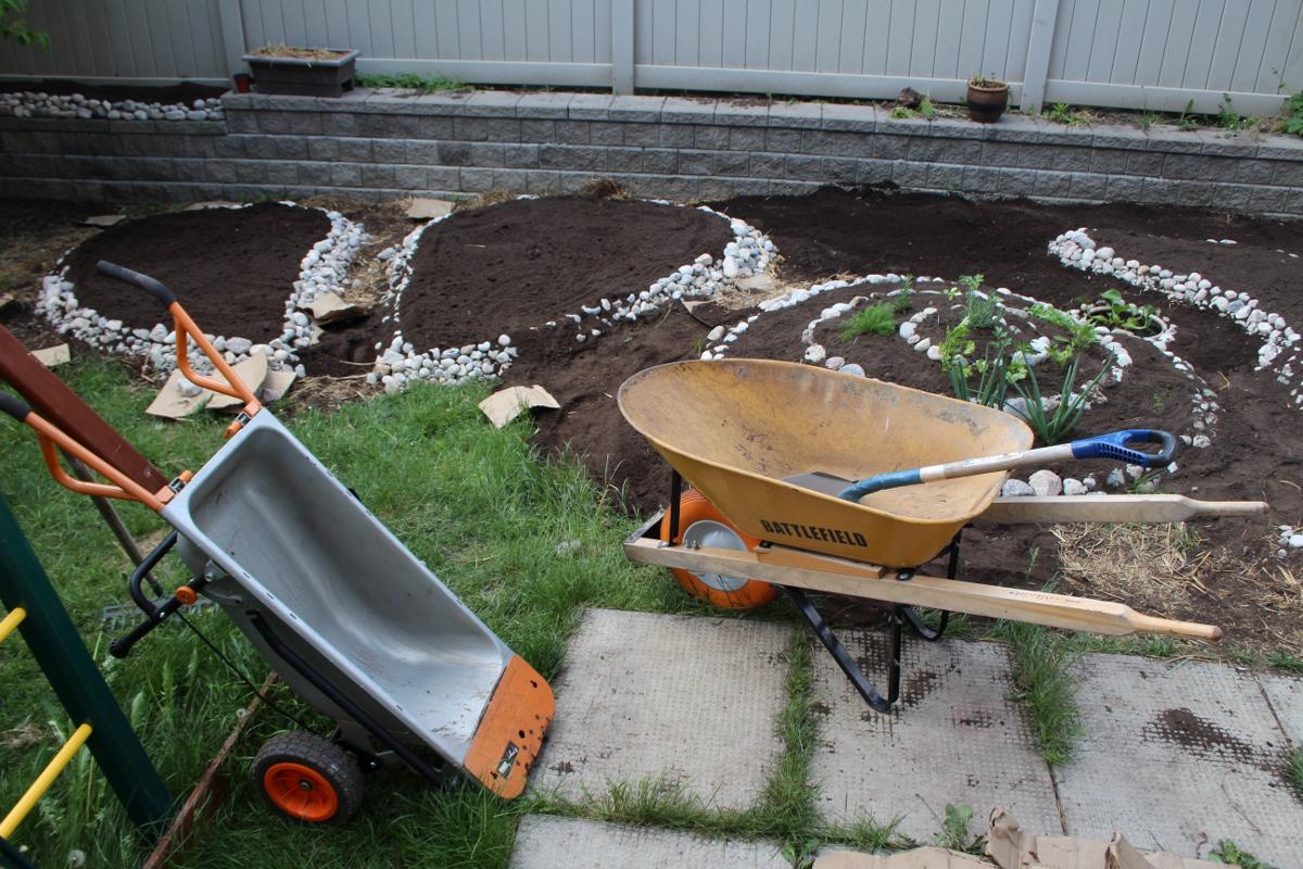 Back yard, building beds, left further 1200