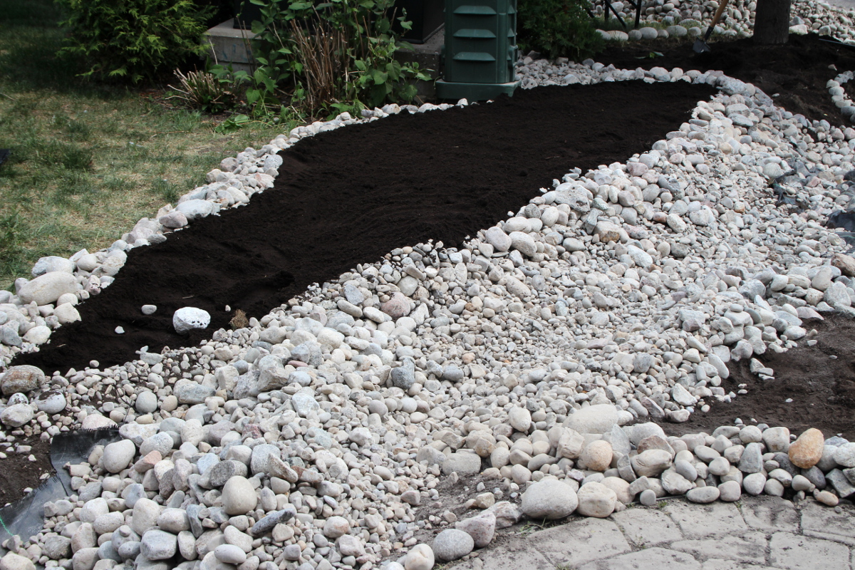 Building river bed, garden bed closeup 1200